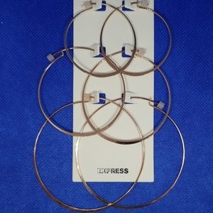 Express Gold hoops -3 pack variety